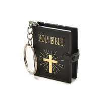 1Pc Mini Bible Keychain English HOLY BIBLE Religious Christian Jesus Gold Black Colors