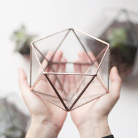 Small Glass Terrarium / Copper Planter / Icosahedron / Geometric Indoor Planter / Stained Glass Terrarium Container / Modern Planter