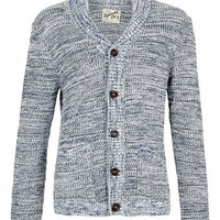 NAVY AND WHITE MIX YARN CARDIGAN - Men's Cardigans & Sweaters - Clothing