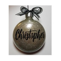 Personalized Christmas Ornament - White Elephant Gift Glitter Monogram Ornament Tree with Ribbon - with gift box