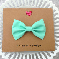 Mint green bow clip - hair bow barrette - big bow - kawaii - women - teens - feminine