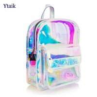 Women Girls Clear Transparent Shiny Iridescent Waterproof PVC Backpack School Bag
