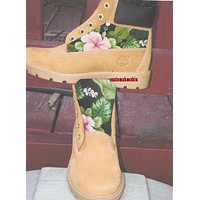 Custom Timberland Tropical Flower Hawaii Print