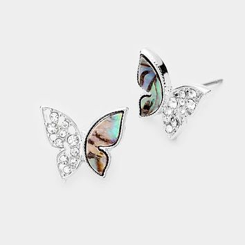 Abalone Accented Rhinestone Butterfly Stud Earrings