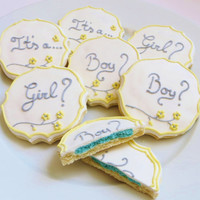 Baby gender reveal cookies decorated in yellow and gray, 1 dozen