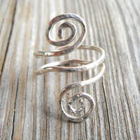 Hammered 925 Sterling Silver Dual Spiral Abstract Twisted Ring Size 5