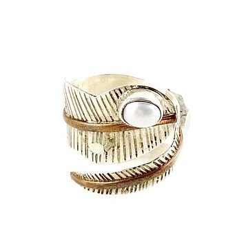 Pearl Sterling Silver Two Tone Adjustable Leaf Wrap Ring