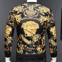Versace New fashion human head long sleeve coat jacket men Black