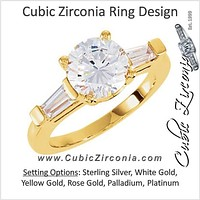 Cubic Zirconia Engagement Ring- The Liv (Round Cut 3-stone with Tapered Baguettes)