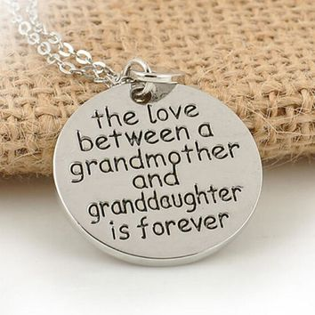 The Love Between a Grandmother and Granddaughter is Forever Heart Pendant Chain Necklace for Family Best Jewelry Gift