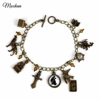 MQCHUN Game of Thrones Vintage Bronze Metal Charm Bracelet A Song of Ice and Fire Link Chain Bangle&bracelets for Men Women Gift