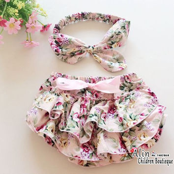 Floral Cotton Baby Bloomers and Headband Set,Bow Baby Bloomers Diaper Covers,Newborn Ruffle Shorts for Bebe Girl Culottes,#P0023