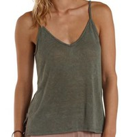 Olive Slub Knit High-Low Tank Top by Charlotte Russe