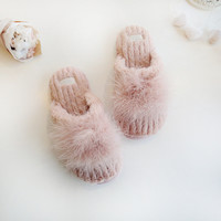 new fur winter soft house slippers cotton warm winter vanled home slippers woman shoes pink