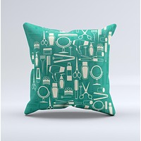 Teal and Yellow Beauty Product Icons ink-Fuzed Decorative Throw Pillow