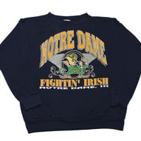 "Vintage 90s Notre Dame College ""Fightin' Irish"" Crewneck Sweatshirt Made in USA Mens Size Large"