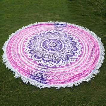 Round Flowers Mandala Tapestry Wall Hanging Hippie Tapestry Home Decor Bedspread Beach Towel Yoga Mat Blanket tapisserie -OG