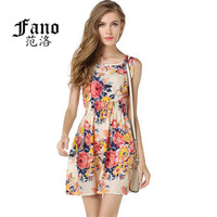 Summer Autumn New Korean Women Casual Bohemian Floral Leopard Sleeveless Fashion Dresses Sexy Loose Evening Party Dress S092
