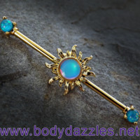 Gold Sun Industrial Barbell Teal Opal Ends 14ga Surgical Stainless Steel Body Jewelry Scaffold Bar