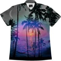 Dream of Paradise (Palm Tree Paradise) Short Sleeve Button Down Shirt created by soaringanchordesigns   Print All Over Me