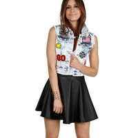 Sale-rock On Patchwork Denim Vest