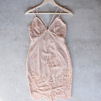Shine Bright Like a Diamond Bodycon Dress in Embellished Rose Gold