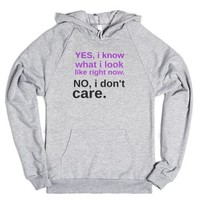 don't-care-Unisex Heather Grey Hoodie