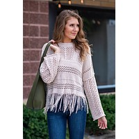 Mind Reader Fringe Sweater : Cream