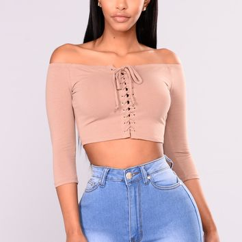 Just A Glimpse Of Me Top - Taupe