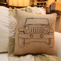 Burlap Jeep Pillow