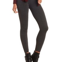 Seamless Cable Knit Leggings by Charlotte Russe - Charcoal