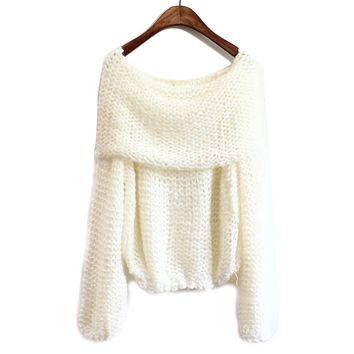 Sexy Boat Neck Loose Fitted Sweater For Women