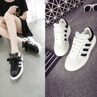 Casual Hot Sale Comfort Hot Deal Stylish On Sale Autumn Leather Stripes Platform Wedge With Heel Shoes Sneakers [4920473604]
