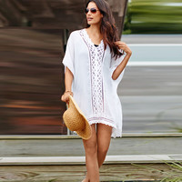 2017 Summer new arrival sexy easy women clace hollow out turquoise loose V-Neck beach dress 100% cotton summer wearring
