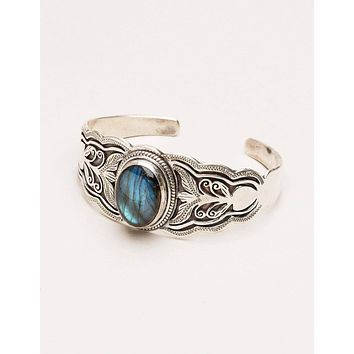 Tibetan Silver Labradorite Cuff - One of a Kind