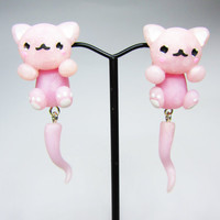 1 Pair Of kawaii Quartz Rose Cat Dangling Earrings by PastelDots