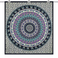 FREE SHIPPING Indian Elephant Deer Cotton Mandala Queen Dorm Room 210cm x 240cm Bed Sheet Cover Wall Hanging Tapestry Festival Boho Wall Art