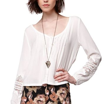 Roxy Button Front Peasant Top - Womens Shirts