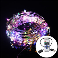 10M 33FT 100 Leds USB Copper Wire Fairy String Light Indoor Outdoor Christmas Decoration Lighting +RF Wireless Remote Controller