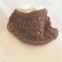Brown Cowl Scarf hand crochet using brown yarn with attached sequins