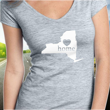 New York Home T-Shirt - V-Neck - State Pride - Home Tee - Clothing - Womens - Ladies