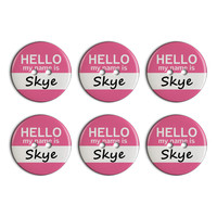 Skye Hello My Name Is Plastic Resin Button Set of 6