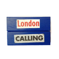 LONDON CALLING fridge magnets BLUE Unique Retro Decor Recycled Gift Idea