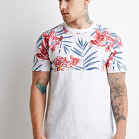 Tropical Floral-Paneled Tee