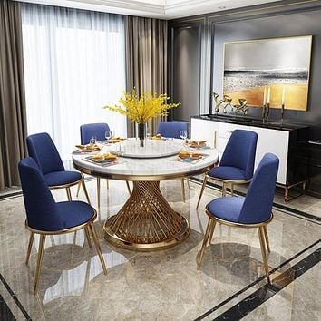 Stylish Pedestal Dining Table With 6 Chairs