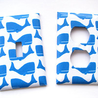Light Switch Outlet Cover Set - Light Switch Plate Blue Whales