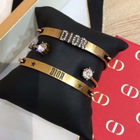 DIOR Fashion New Diamond Letter Three Piece Suit Bracelet Women Accessories