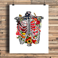 Rib Cage With Flowers Illustration, Bones, Human Anatomy, Occult Theme, College Dorm Room, Indie, Hipster, Tattoo Design, Giclee Art Print