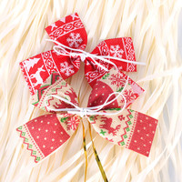 Merry Christmas 15cm Linen Bowknot Decor Christmas Tree Hanging Decoration Xmas Bowknot Ornament [9343511236]