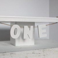Rustic, White, Shabby Chic, Smash The Cake, Cake Stand, ONE, Photo Prop, Over The Top Cake Topper